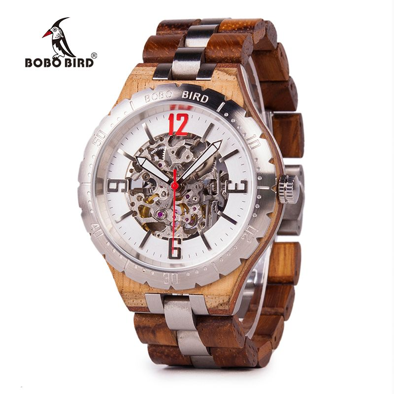 BOBO VOGEL Mechanische Armbanduhren Männer Holz Metall Uhr Wasserdichte Luxus Uhren relogio masculino C-uQ29