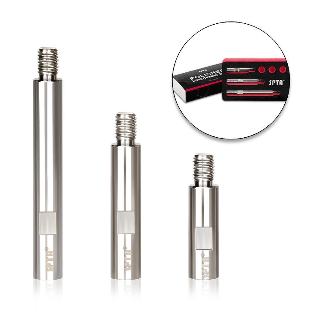SPTA acier inoxydable rotatif rallonge arbre Set 75mm + 100mm + 140mm 5/8 -11/M14/M16 filetage pour polissage polisseuse Pad support plaque