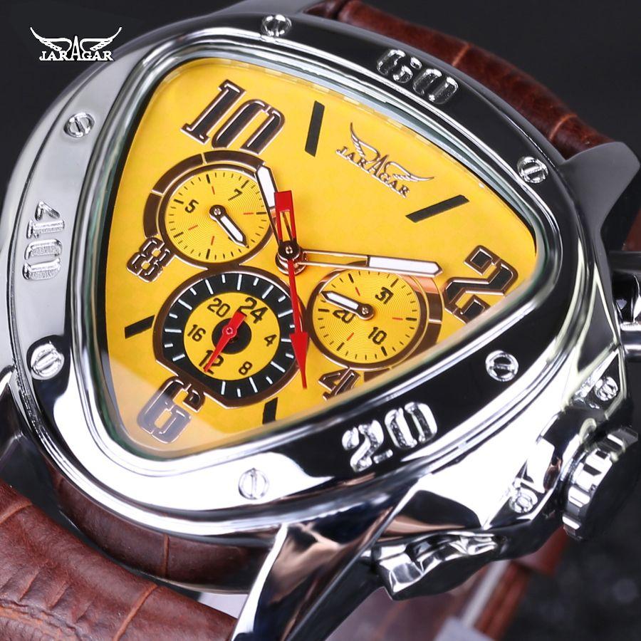Luxury brand Leather Band automatic Mechanical Calendar Watches Mens Wrist Watches Jaragar military watch men waterproof