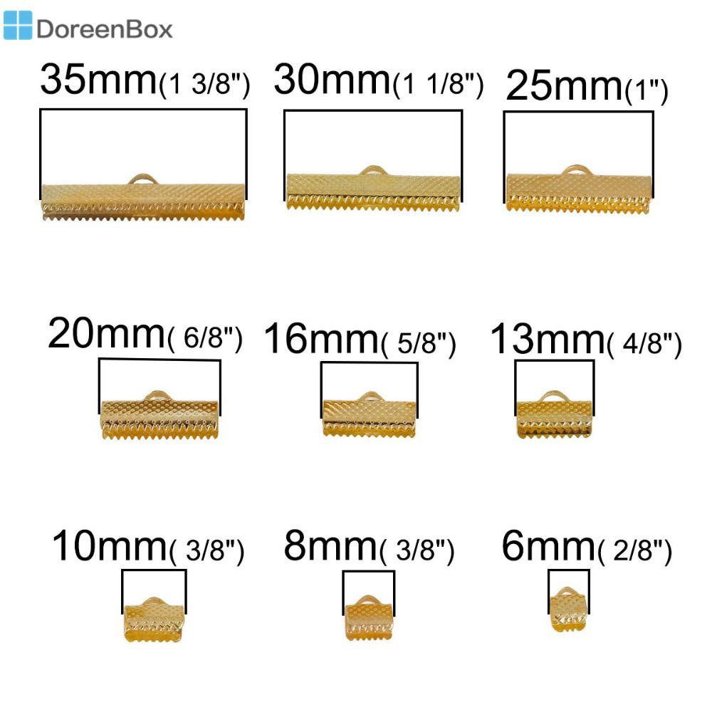 Doreen Box Eisen Legierung Auf Kabelbandstickerei Crimp Schmuck halskette Armband Aktentasche Gold farbe Mixed 35x8mm-8 x6mm, 1 Satz