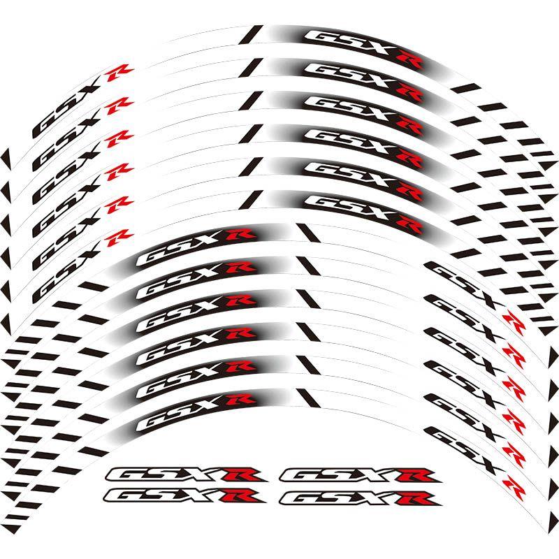 Pour tous SUZUKI GSXR 250 400 600 1000 750 GSXR1000R GSXR1000 GSXR600 750 12 X bord épais jante extérieure autocollant bande roue décalcomanies