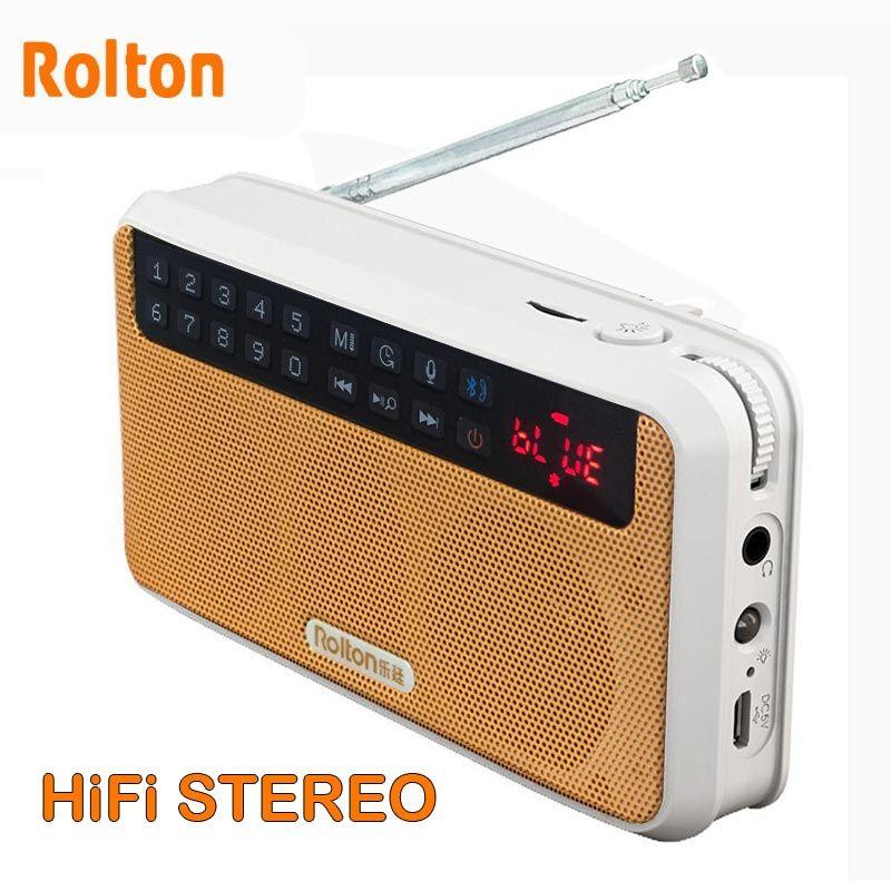 Rolton E500 haut-parleur Bluetooth stéréo Radio FM haut-parleur Portable Radio Mp3 jouer l'enregistrement sonore main libre pour téléphone et lampe de poche