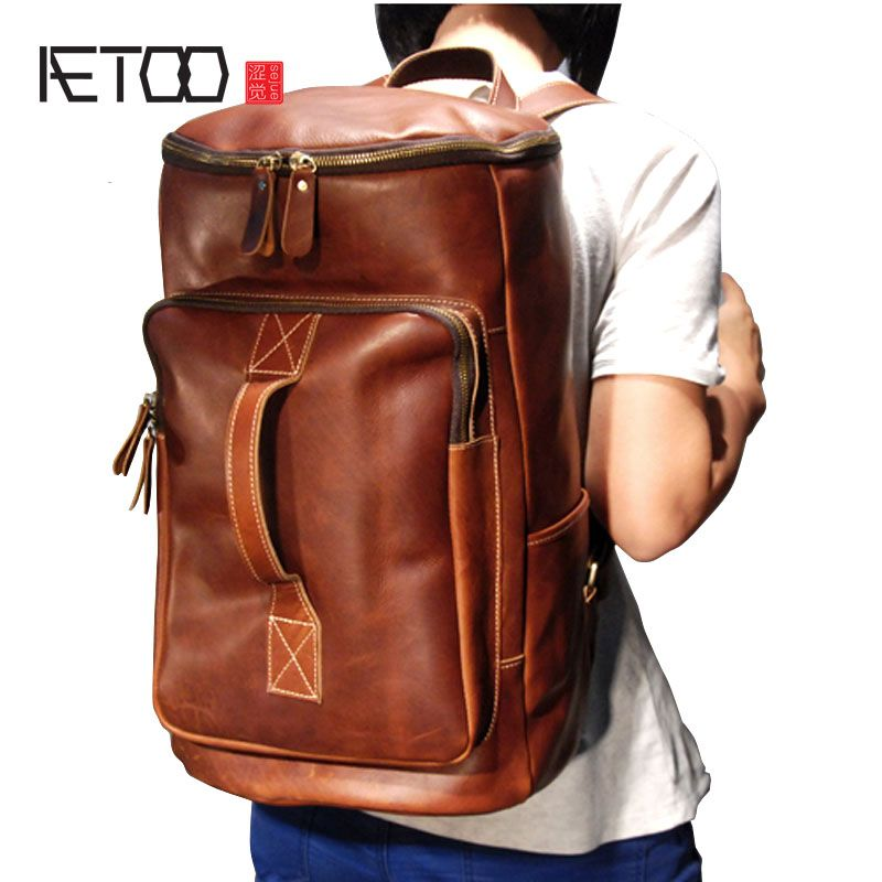 AETOO Super large section of the first layer of imported crazy cowhide portable backpack dual travel bag men