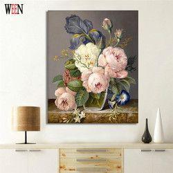 УИН цифровой элегантный цветок живопись по номерам DIY стены картина маслом раскраска Куадрос картины для декора акрил холст книги искусств...