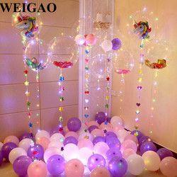 WEIGAO DIY fiesta de cumpleaños helio decoración Bobo globos unicornio partido decoración de la boda confeti pastel decoración fuentes del cumpleaños