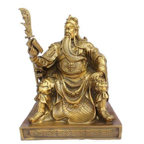 free shipping Chinese bronze brass Dragon Guan Gong/ Yu Reading book Statue 10