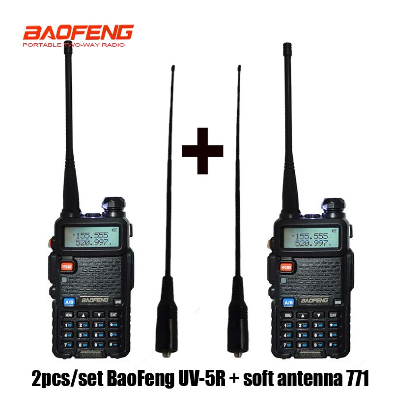 2 pcs Baofeng UV-5R Radio set Walkie Talkie UV 5R UV5R two way radio station Transmitter with Female soft radio rantenna 771