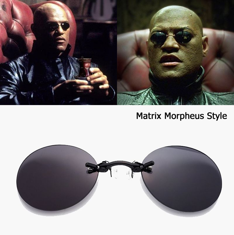 JackJad Fashion The Matrix Morpheus Style Round Rimsless Sunglasses Men Brand Design Clamp Nose Sun Glasses Oculos De Sol AB704