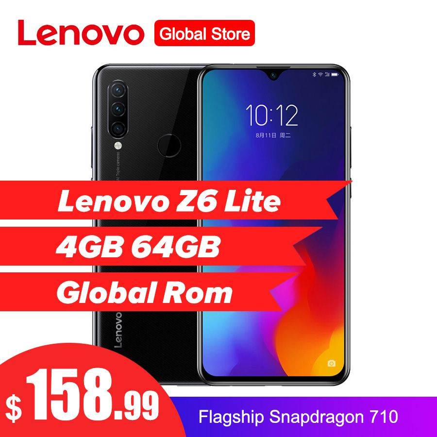 Lenovo Z6 Lite 6,3 ''4 GB 64GB Smartphone Octa Core Triple Zurück Cams 19,5: 9 Waterdrop 4050mAh 4G LTE OTA Handy