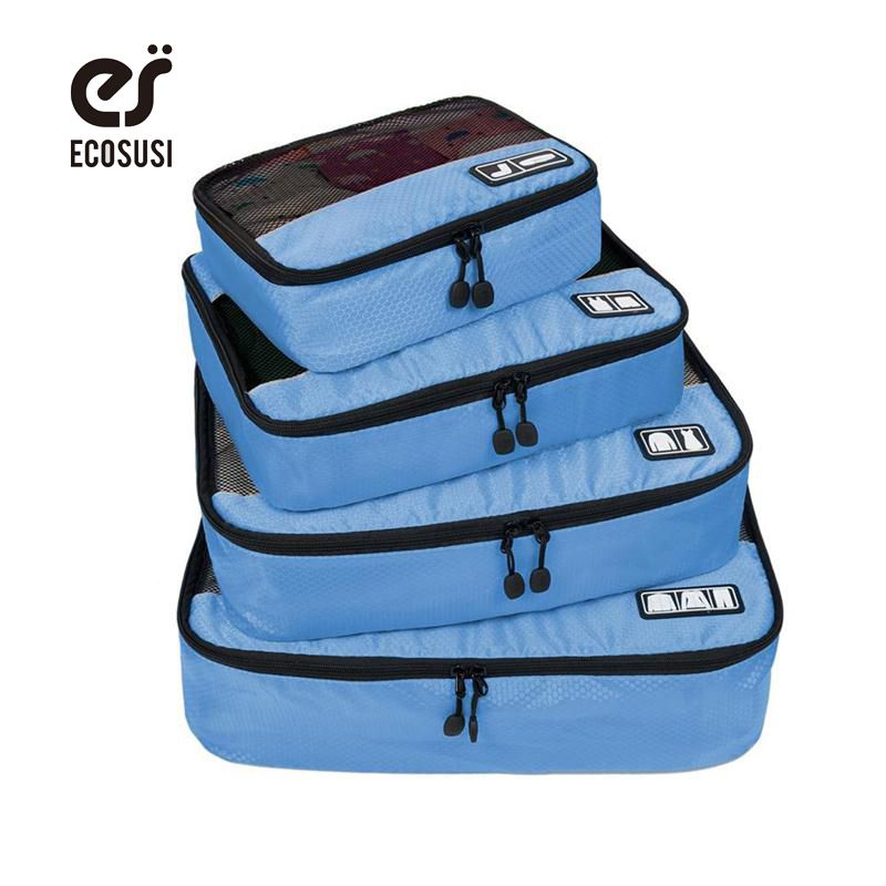 ECOSUSI Breathable Travel Bag 4 Set Packing Cubes Luggage Packing Organizers with Shoe Bag Fit 23