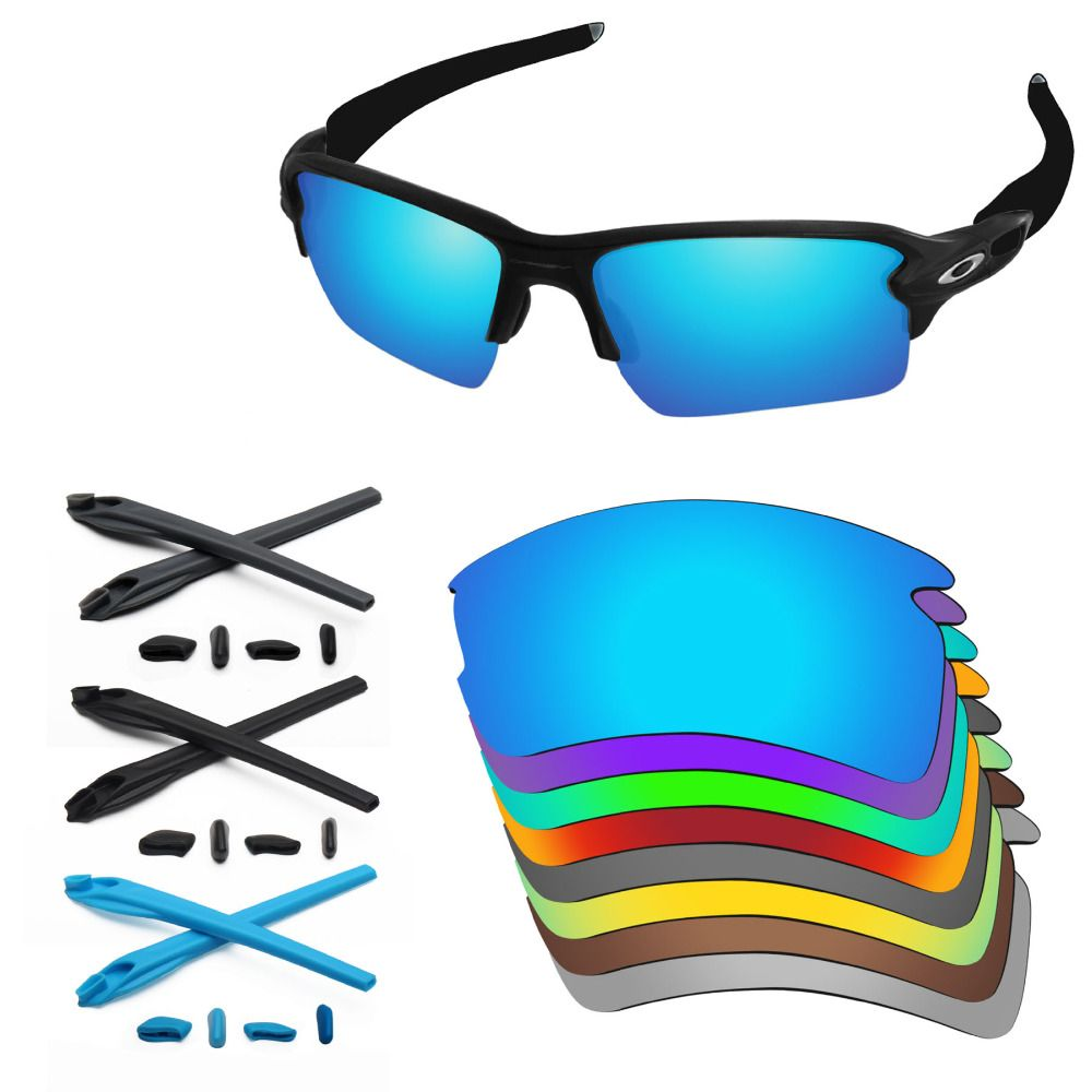 PapaViva Replacement Lenses and Rubber Kit for Authentic Flak 2.0 XL Sunglasses Frame - Multiple Options