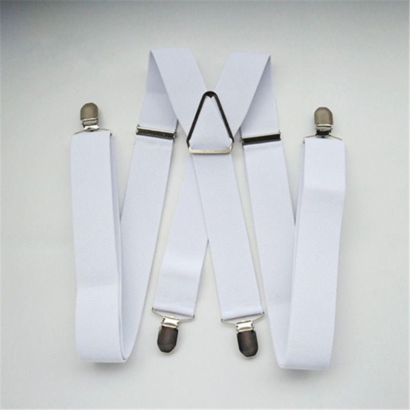 BD054-L XL size White 3.5 width suspender for children adjustable elastic X back pants braces for men and women clips on