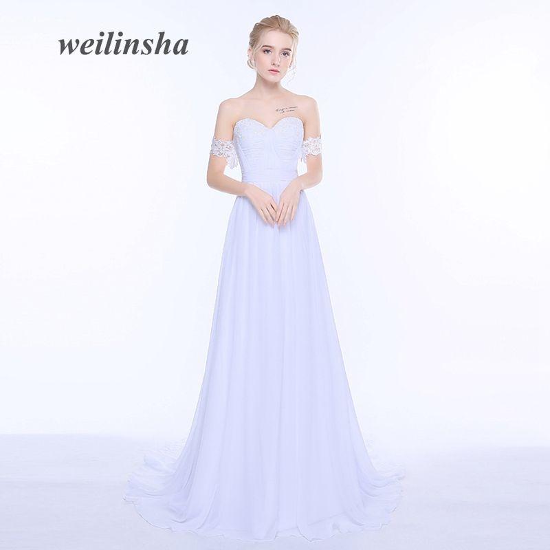 Weilinsha 2017 Nueva Gasa de La Llegada Vestidos de Novia vestidos de Novia Vestido de Novia Fuera del hombro de Novia Más Tamaño vestido