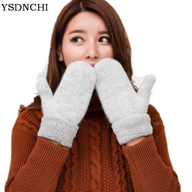 YSDNCHI Lovely Winter Knitted Wool Thicker Cashmere Velvet Warm Black Gloves Ladies Cute Fingerless Women Solid Mittens Guantes