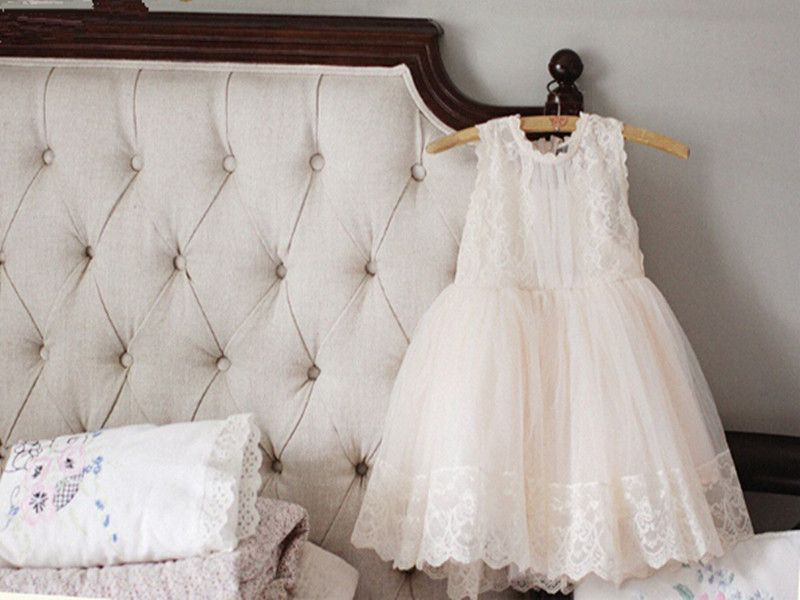 New Posh Baby Girls Party Dress Pretty Lace & Tulle Flower Girls Dress Sleeveless Blossoms Style Girls Clothes