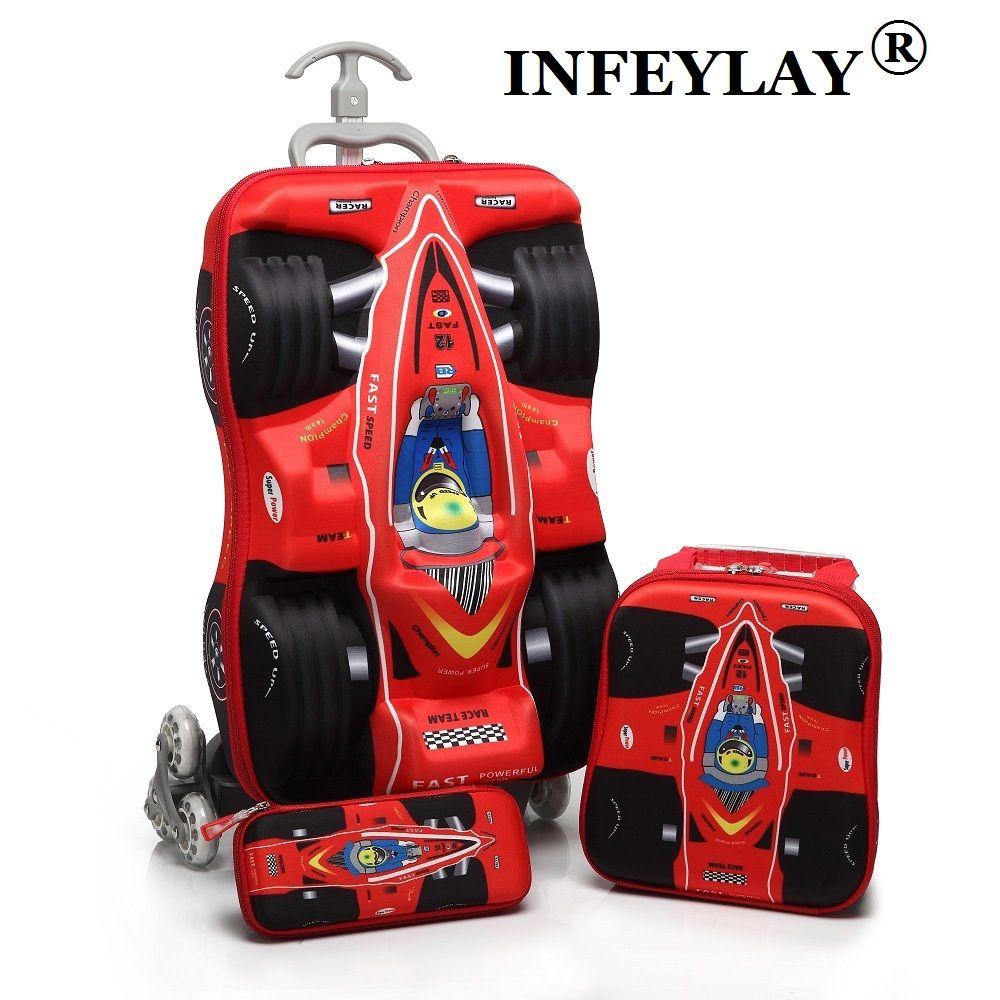 3 Pcs/ensemble enfants voitures Voyage Bagages 3D stéréo boîte de tige de Traction de bande dessinée enfant crayon boîte enfants COOL valise cadeau D'embarquement boîte
