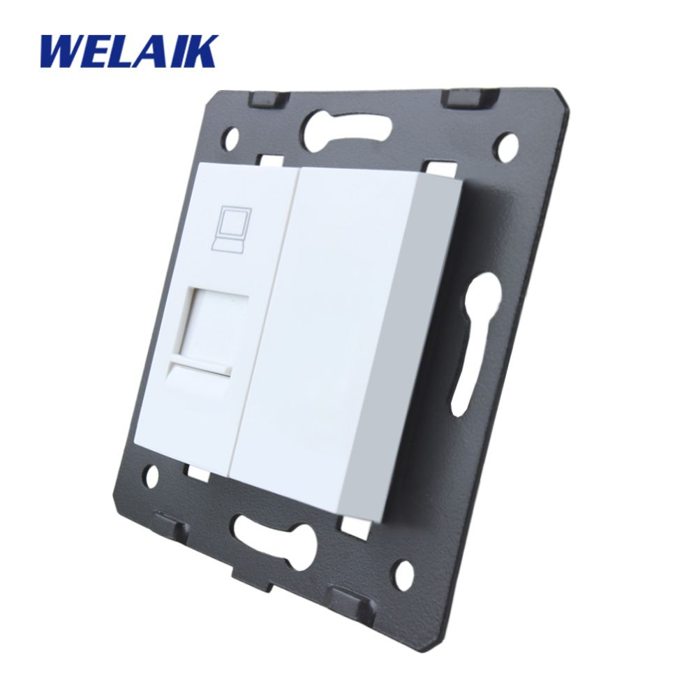 WELAIK EU Standard Computer Socket DIY Parts White Wall Computer Socket parts Without Glass Panel A8COW