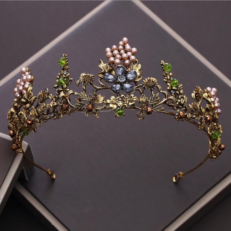 KMVEXO Baroque Vintage or cristal fleurs perles diadèmes strass reine couronnes mariage cheveux accessoires luxe bandeau diadème