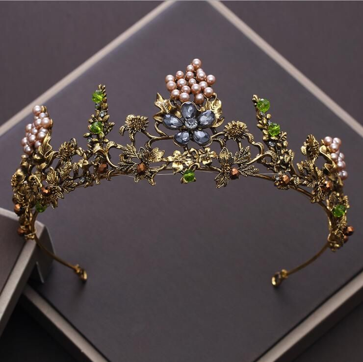 KMVEXO Baroque Vintage Gold Crystal Flowers Beads Tiaras Rhinestone Queen Crowns Wedding Hair Accessories Luxury Headband Diadem