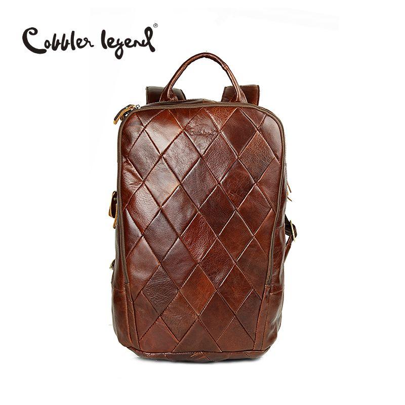 Cobbler Legend 2017 New Vintage Brown Genuine Cowhide Leather Men's Backpacks Computer Shoulder Bag For Men Business Travel Bags