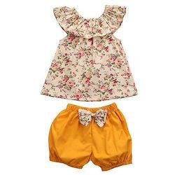 Été Nouveau-Né Bébé Fille Vêtements Floral Débardeur + arc-noeud Shorts 2 PCS Tenues Bebek Giyim Toddler Enfants vêtements Ensemble