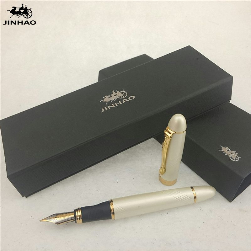 1pc/lot Jinhao X450 Fountain Pen Luxury 12 Colors Gold/SilverBlack/Red/Green Pens Jinhao School Supplies Papelaria 14.3*1.3cm