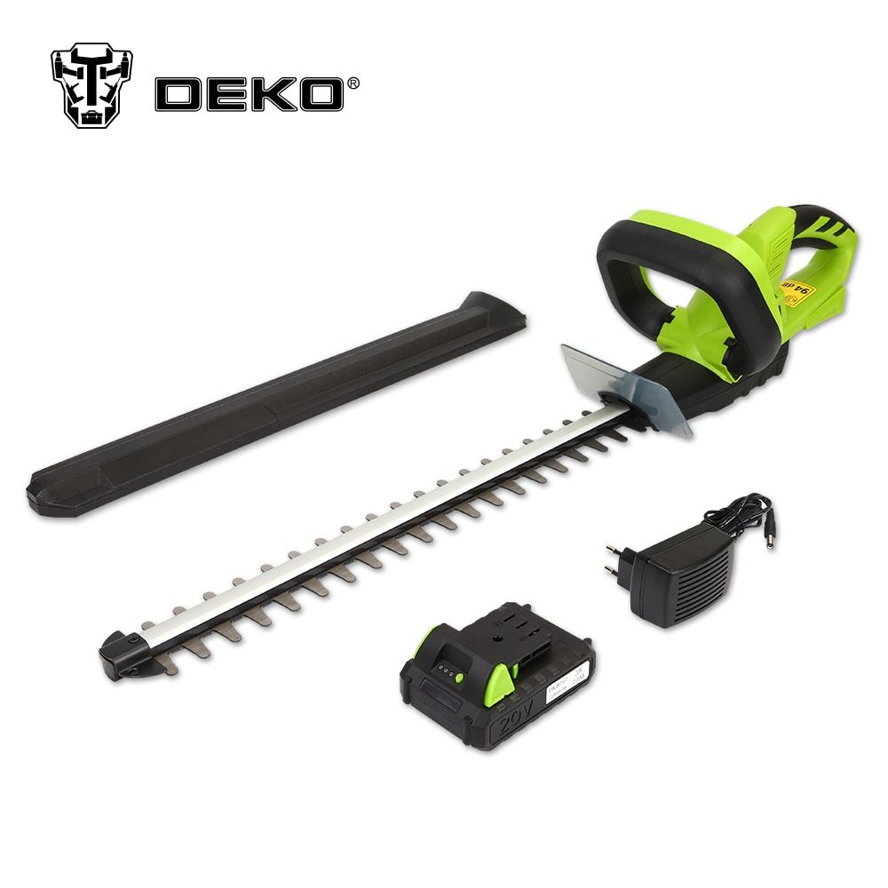 DEKO 20V Lithium 1500mAh Cordless Hedge Trimmer Quick Charge Rechargeable Electric Trimmer Pruning Saw with Dual Blade/Saw