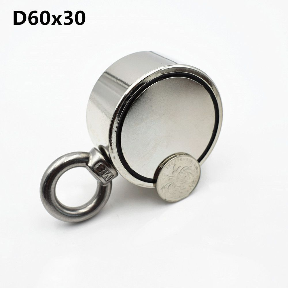 1pc D60mm salvage Neodymium magnet super powerful hole Circular Ring hook 200kg fishing permanent holder Double-sided magnet