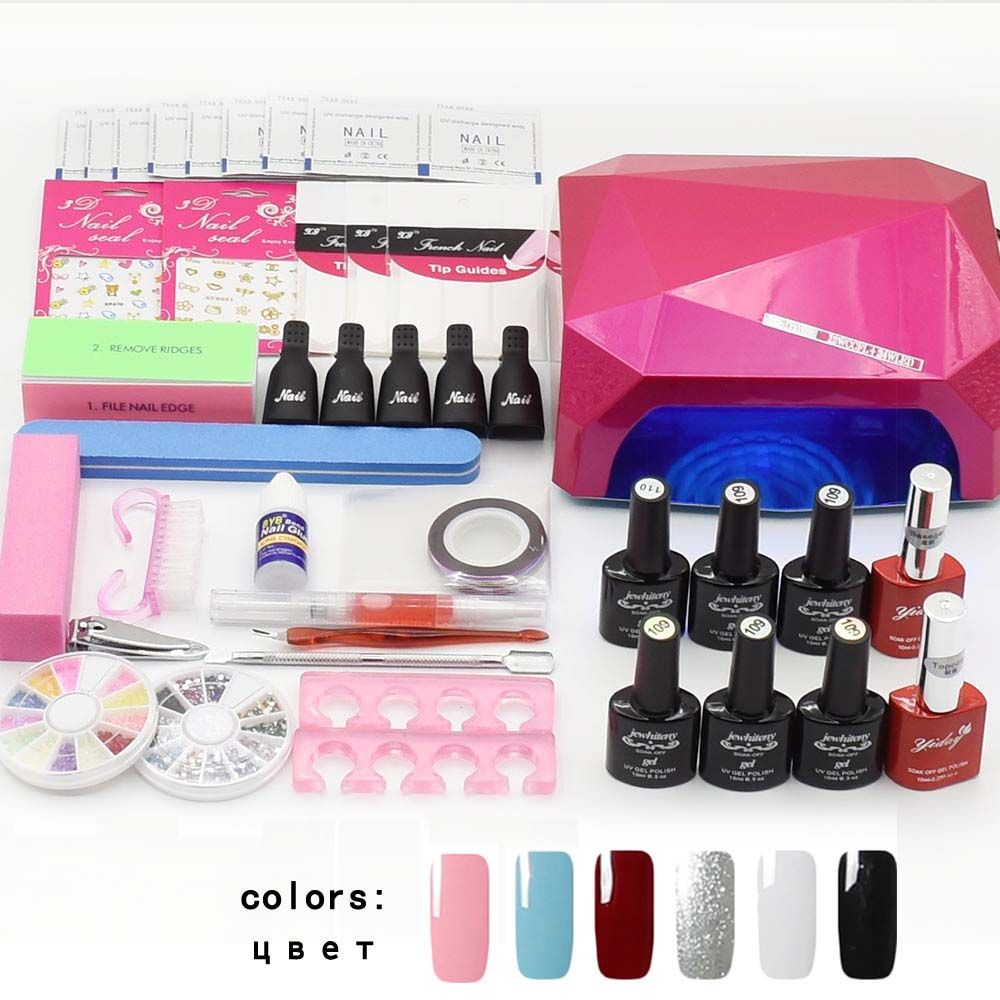 Jewhiteny nail art set UV LED LAMP Dryer & 6 Color Gel Nail Polish Set kit Nail Tools Gel Varnish lacquer manicure tools kit
