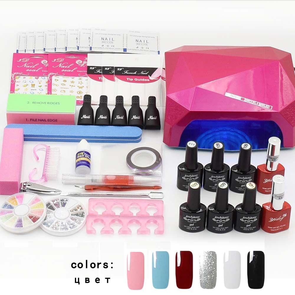 Jewhiteny nail art set UV LED LAMP Dryer & 6 Color Gel Nail Polish Set kit Nail Tools Gel Varnish lacquer manicure tools kit