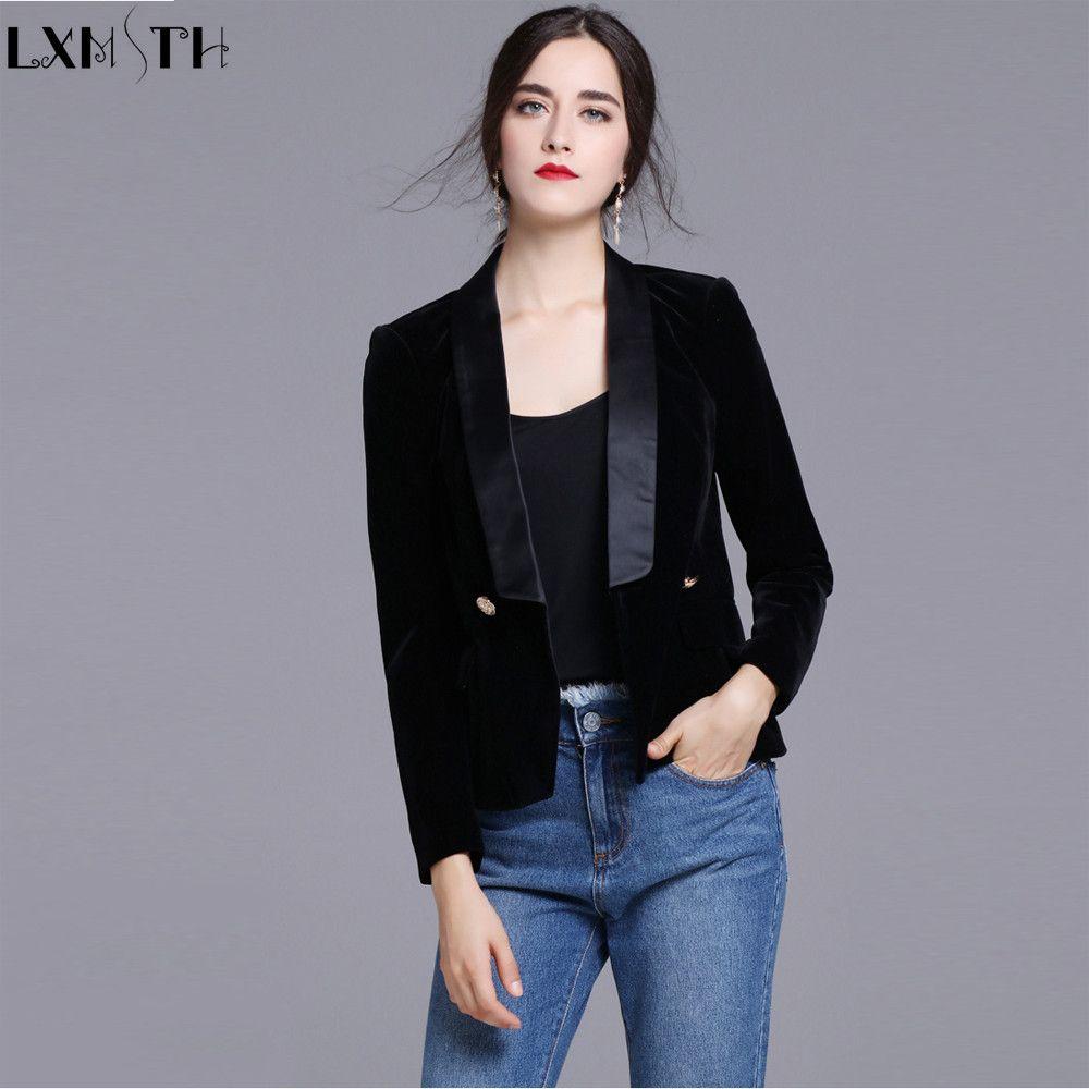 New Black Velvet Blazers Women Slim Double Breasted  Button Women's Casual Suit Coat Jackets ladies Office Blazers Long Sleeve