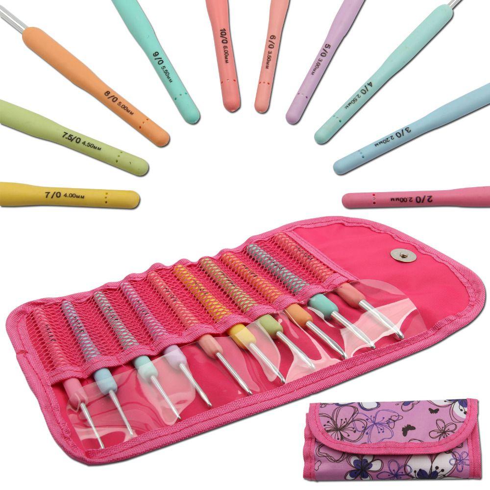 Avec sac lot de 10 crochets en aluminium Crochet aiguilles à tricoter Multi couleur poignée en plastique souple poignée tissage artisanat 2.0mm-6.0mm