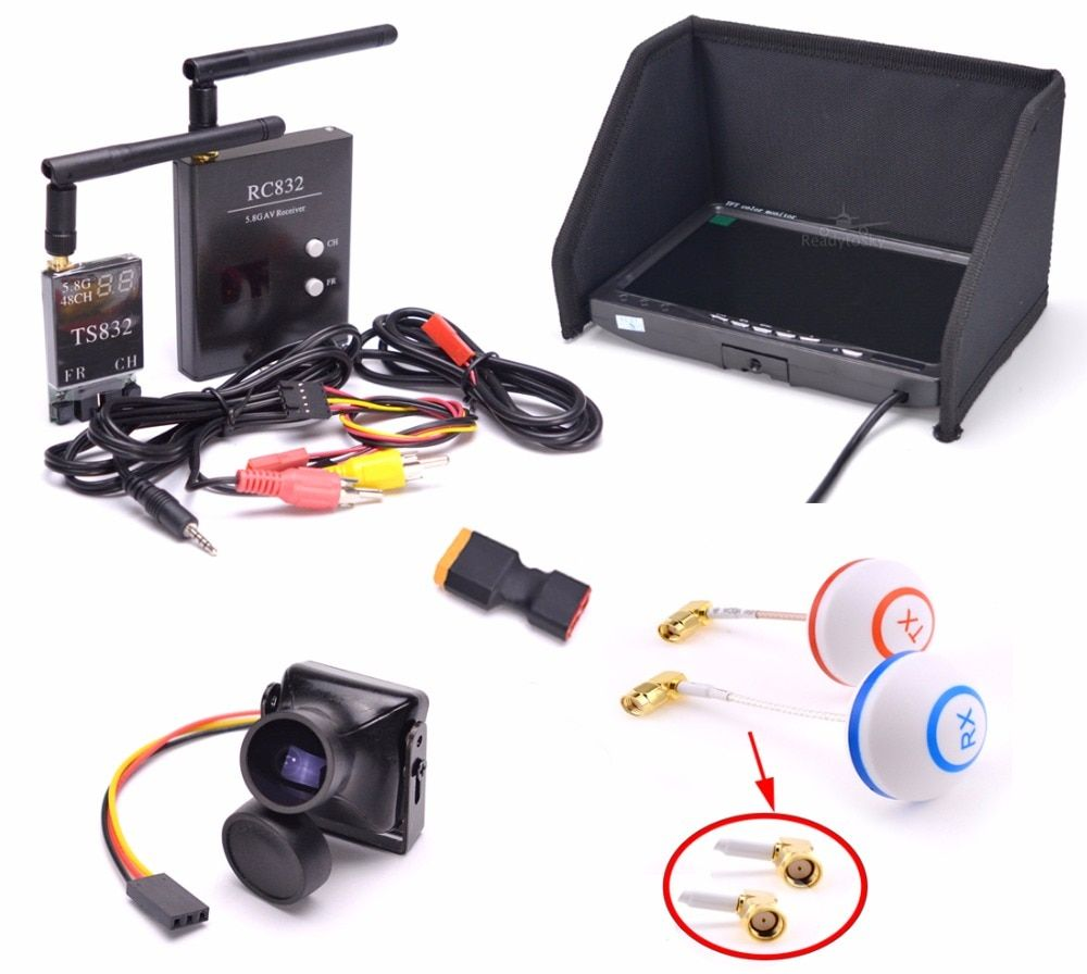 FPV Kit Combo System 1200TVL Camera + 5.8Ghz 600mw 48CH TS832 RC832 Plus + 7 inch LCD 1024 x 600 Monitor for FPV F450 S500 S550