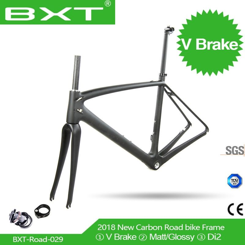 Chinese cheap racing road frame2018 BXT carbon road cycling frame Route 700c bike Carbon bike frame V-Brake