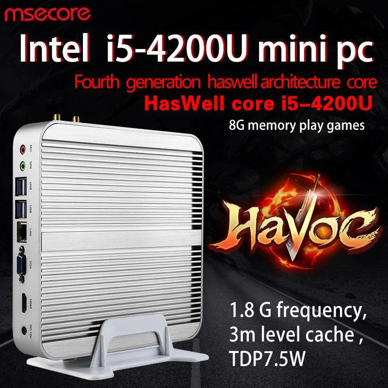 MSECORE Core i5 4200U Mini PC de jeu ordinateur de bureau Windows 10 sans ventilateur linux barebone Nettop sans ventilateur HTPC HD4400 4 K 300 M wifi