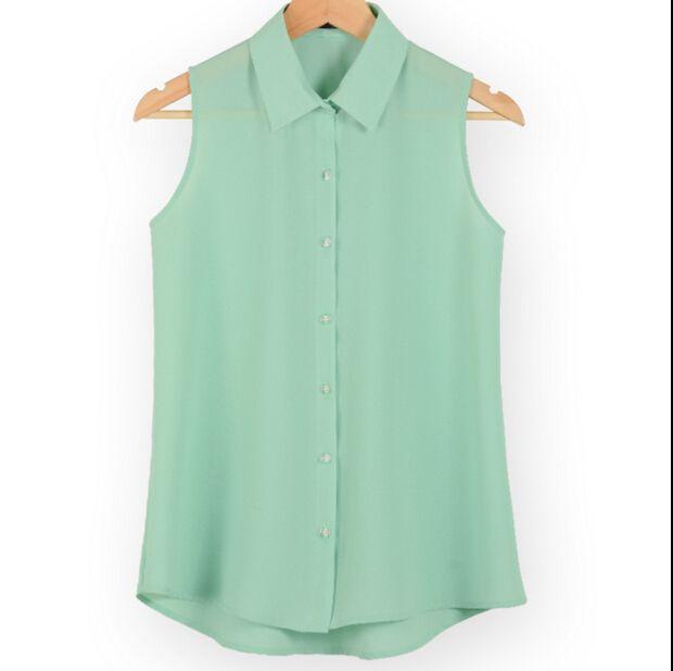 New fashion work wear bureau tops blouses Été turn down sans manches femmes en mousseline de soie chemise mince chemises couleurs femelle camisa gilet