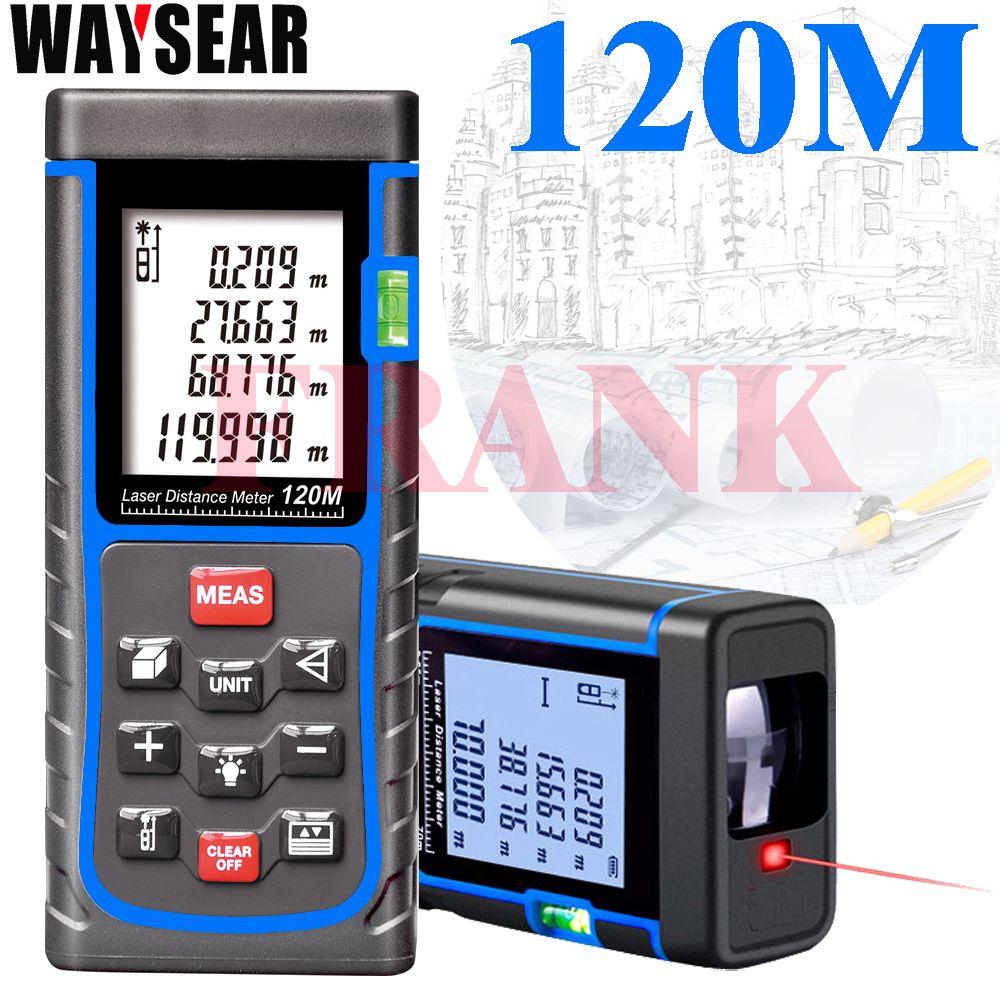 Waysear Laser Range Finder Télémètre Laser 120 m Mètre Mètre de Distance Numérique Zone de Bande-volume-Angle Testeur outils détection
