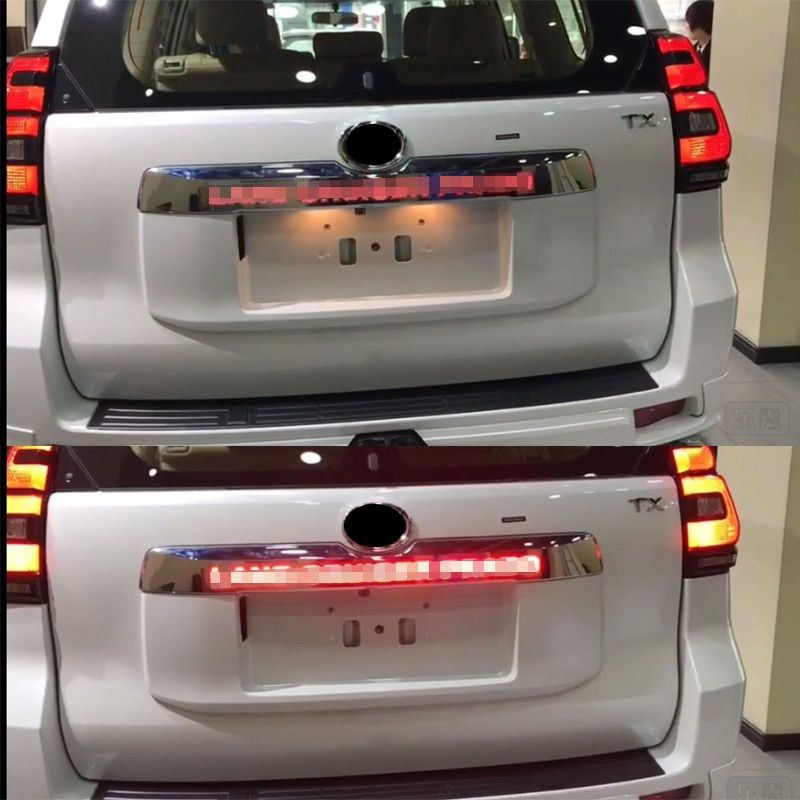 LED light System Chrome Rear Trunk Lid Cover For Toyota Prado 150 Land Cruiser Prado FJ150 2018 Accessories