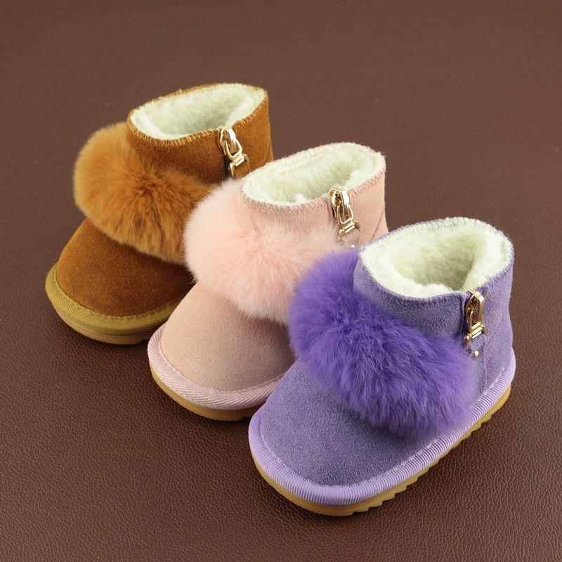 2018 Новинка зимы Детские Снегоступы Обувь для младенцев теплые зимние Зимние сапоги из натуральной кожи для младенцев с милой Мех животных