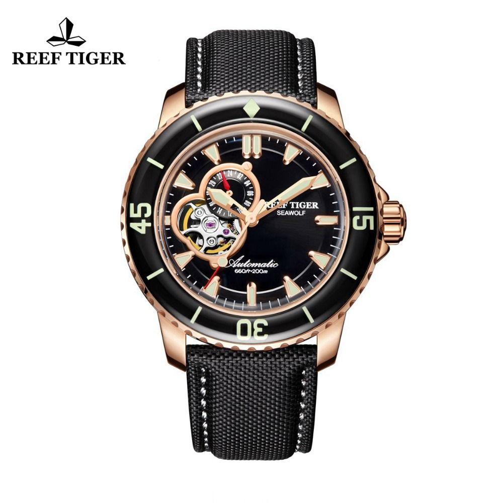 Riff Tiger/RT Sport Automatische Uhren für Männer Rose Gold-Ton Super Leucht Dive Uhr RGA3039