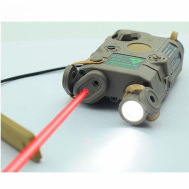 Boîte de batterie tactique militaire Airsoft AN/PEQ-15 Laser à point rouge avec lampe de poche LED blanche et lentille IR