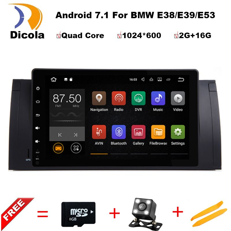 Android 7.1 Quad Core GPS Navi 9 Inch Full Touch Car DVD Multimedia for BMW E53 X5/E39 5/M5 97-06 with BT/RDS/Radio/Canbus/WIFI