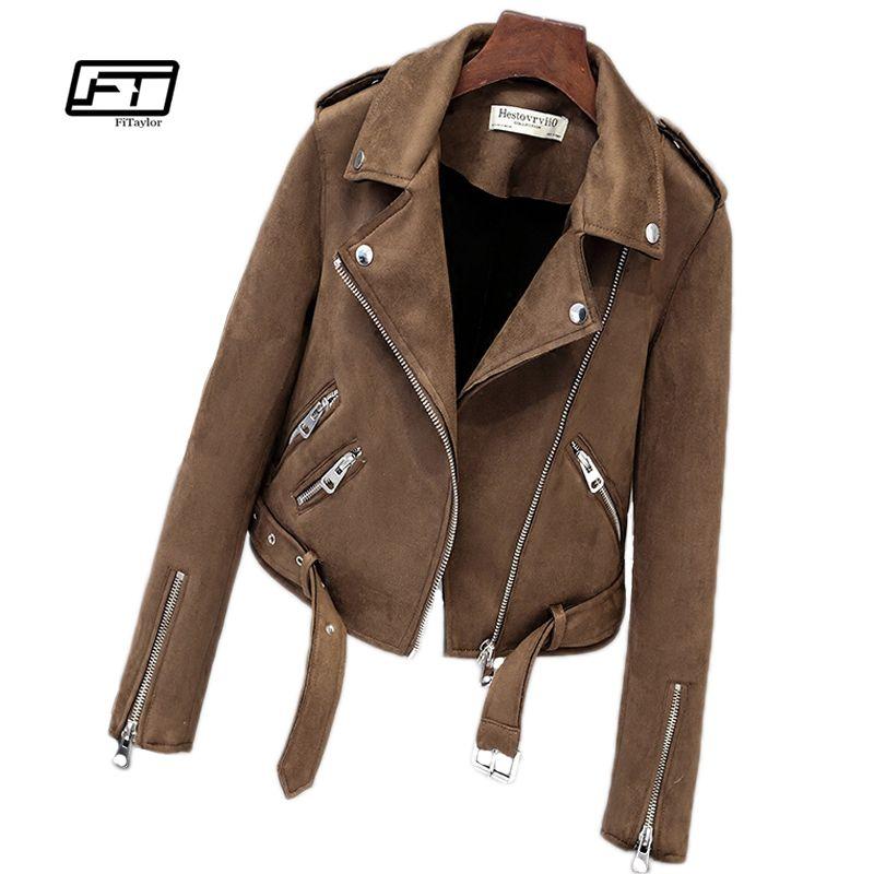 Fitaylor Nouveau Automne Faux Suede Femmes Moto Veste Faux Veste En Cuir Femmes Biker Veste Mince Blanc PU Manteau