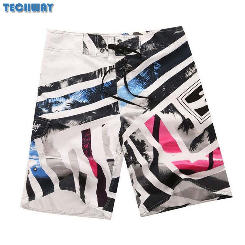 2017 New Plus Size Men's Beach Shorts Mens Bermuda Surf Boardshorts For Swimwear Men Swim Surfing Shorts Board Quick Dry Silver