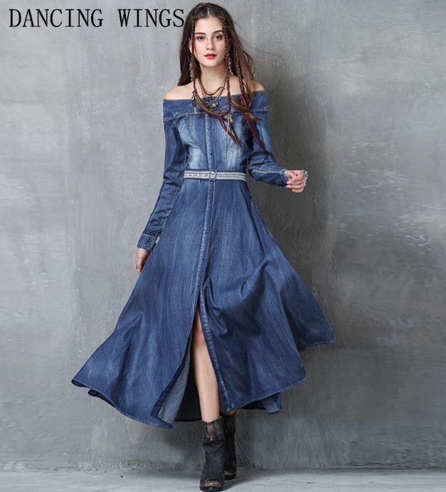 Vestidos Mujer 2018 Vintage Embroidery Long Sleeve Single Breasted Belted Vestidos Women Sexy Slash Neck Split Denim Dresses