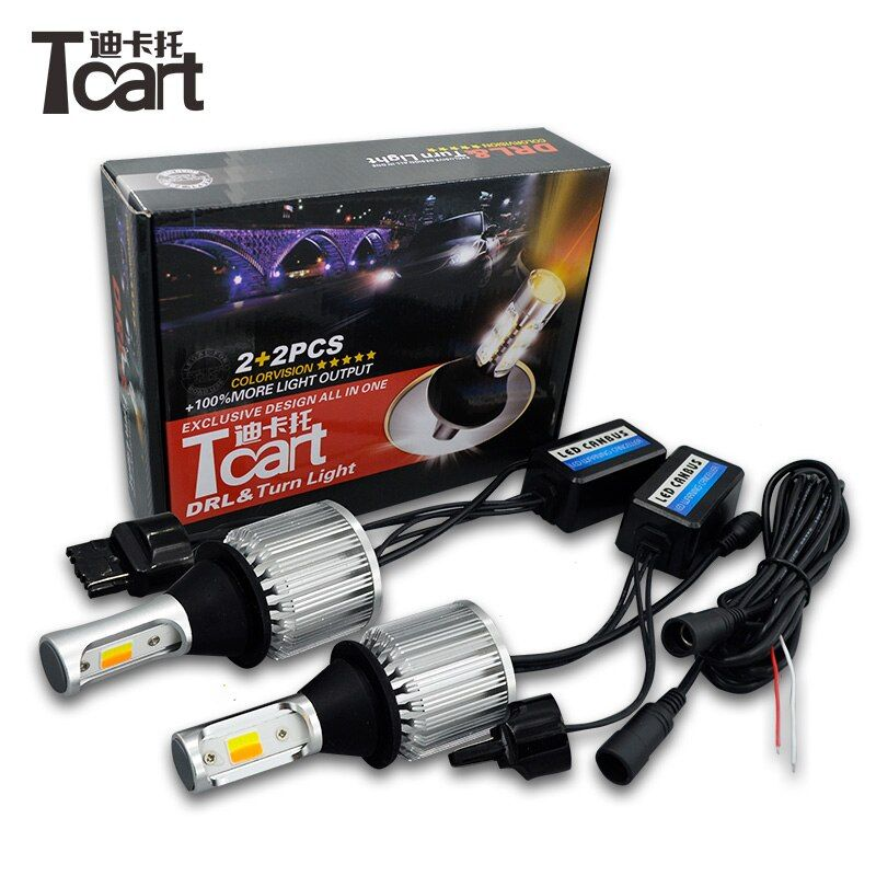 Tcart Car Led Bulbs COB DRL Daytime Running Light Front Turn Signals WY21W 7440 White+Yellow Lamps For Toyota Cruiser Prado 150