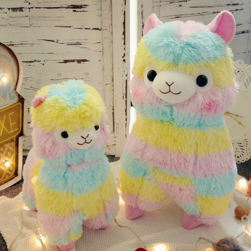 35cm/50cm Rainbow Alpaca Plush Toys Kawaii Stuffed Toys Japanese Plush Doll Toys Children Kids Gift