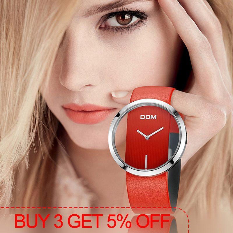 DOM montre femmes de luxe mode décontracté 30 m étanche montres à quartz bracelet en cuir véritable sport dames élégant montre-bracelet fille