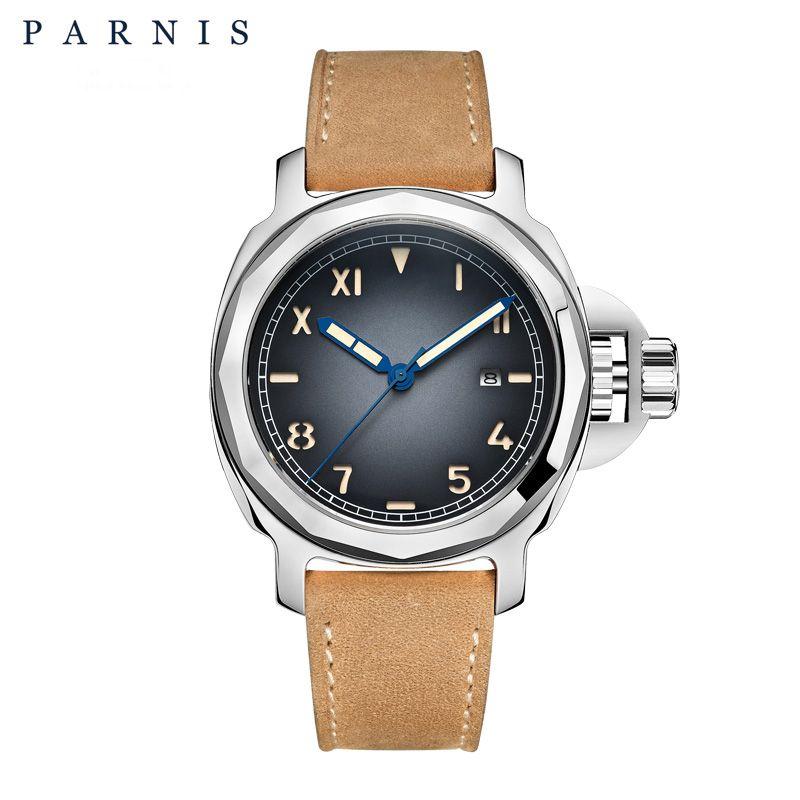 Parnis Men's Automatic Mechanical Watch Top Brand Men Mechanical Wristwatch Power Sapphire Glass Genuine Leather Luminous 10ATM