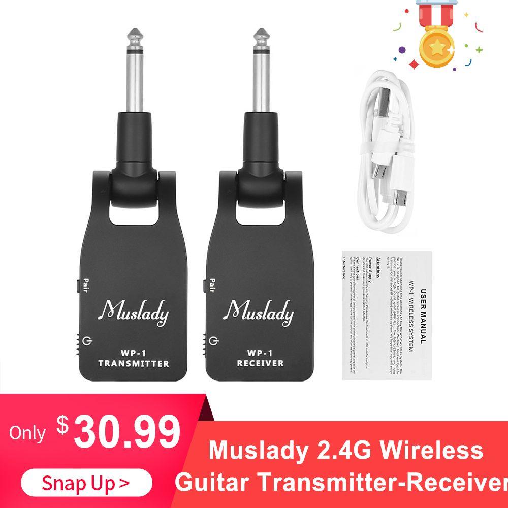 Muslady 2.4G système de guitare sans fil transmetteur et récepteur batterie au Lithium Rechargeable intégrée 30M gamme de Transmission
